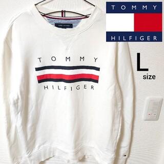 トミーヒルフィガー(TOMMY HILFIGER)の美品 ホワイト スウェットカットソー トミーヒルフィガー トレーナー メンズ L(スウェット)