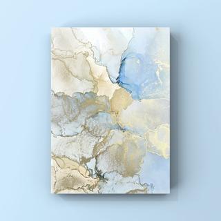 アルコールインクアート インテリアアート アートポスター《blue beige》(アート/写真)