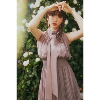snidel - Pleated Chiffon Ribbon Midi Dress