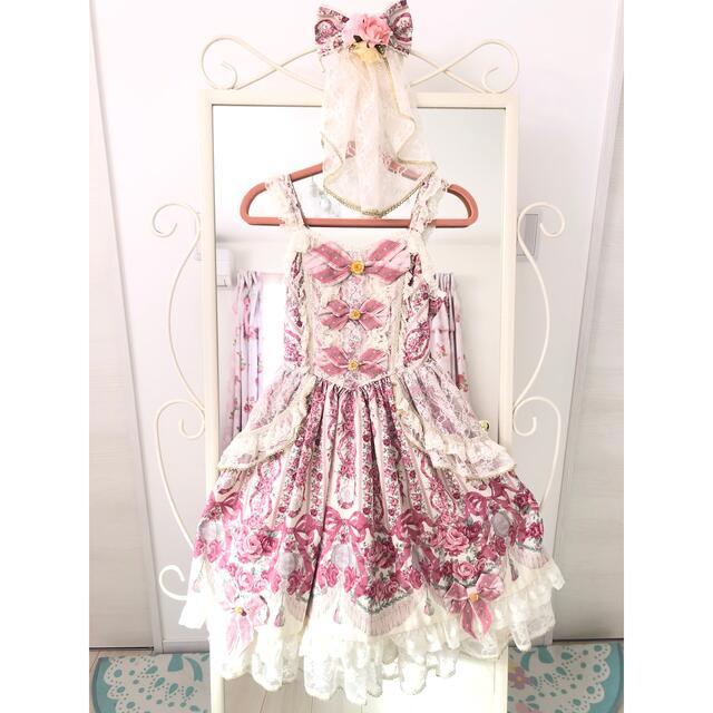 Angelic Pretty(アンジェリックプリティー)のmaaco様専用/Fairy Rose Princess JSK&バレッタ レディースのワンピース(ひざ丈ワンピース)の商品写真