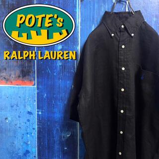 Ralph Lauren - 【ラルフローレン】ワンポイント刺繍ロゴポケット半袖リネンシャツ 90s