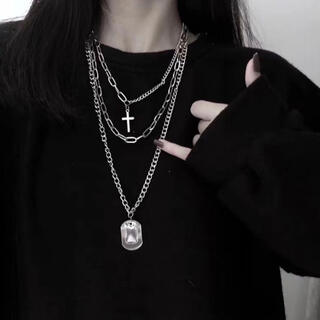 3連 ネックレス  十字架 ドックタグ プレートクロス 黒 ゴシック 韓国(ネックレス)