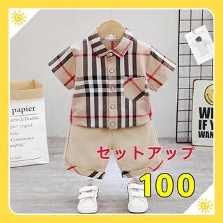 キッズセットアップ チェック柄シャツ ハーフパンツ 男の子夏物100(Tシャツ/カットソー)
