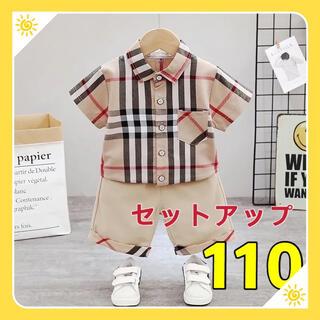 チェック柄シャツ ハーフパンツ 男の子夏物110(Tシャツ/カットソー)