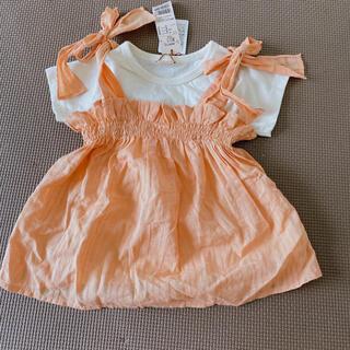 petit main - 【新品未使用】petit main キャミ付きTシャツ オレンジ 100