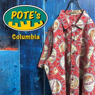 Columbia - 【コロンビア】フィッシュ柄ラベルステッカー柄ロゴタグ半袖総柄フィッシングシャツ