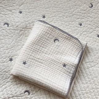 星と月ブルーグレー刺繍3重ガーゼブランケット 韓国イブル ベビー 70×90cm