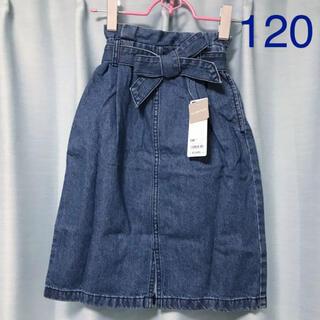 ジーユー(GU)のGU ウエストリボンデニムスカート 120 ブルー(スカート)