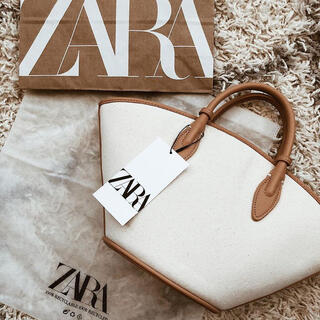 ZARA - zara キャンパス地トートバッグ