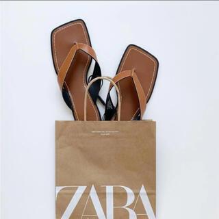 ZARA - ZARA トップステッチ&スクエアトゥフラットサンダル 39