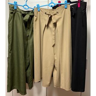 しまむら - 中古 3点セット 3L ワイド パンツ 大きいサイズ ブラック カーキ ベージュ