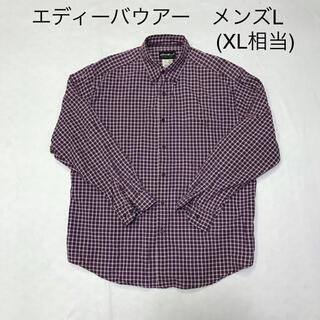 エディーバウアー(Eddie Bauer)のエディーバウアー チェックシャツ エンジ×白×紺 メンズL(XL相当)(シャツ)