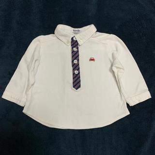 ファミリア(familiar)のポロシャツ 長袖 白 ファミリア 80 鹿の子 ネクタイ おでかけ(シャツ/カットソー)