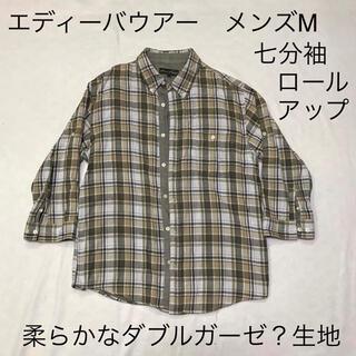 エディーバウアー(Eddie Bauer)のエディーバウアーボタンダウンチェックシャツ オリーブ色系 メンズM 7分袖(シャツ)