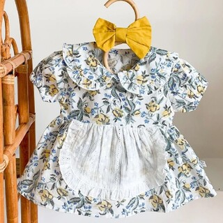 花柄エプロンロンパース プティマイン、しまむら、韓国子供服、リバティ好き