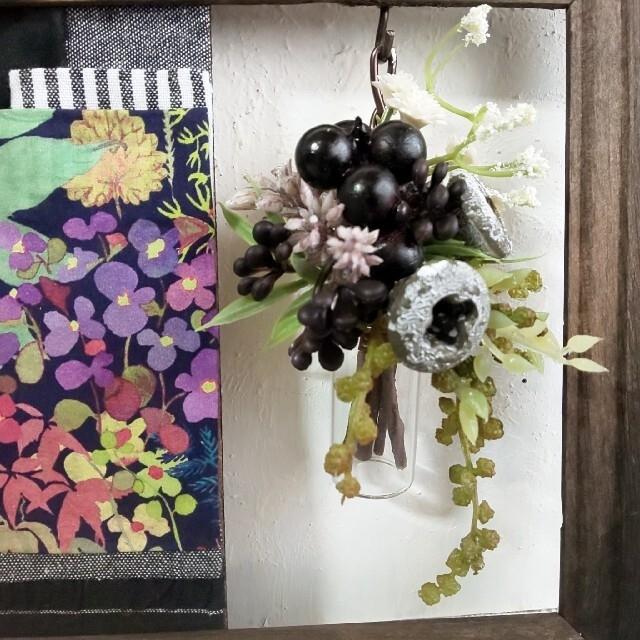 ✨fu.wa.ranコラボ企画✨ リバティパネル & ガラスボトル フレーム ハンドメイドのフラワー/ガーデン(その他)の商品写真