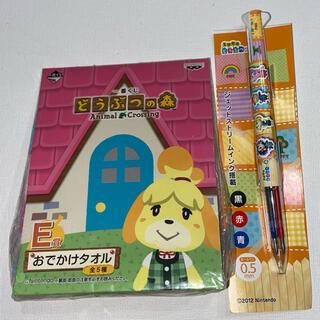 ニンテンドウ(任天堂)のどうぶつの森 3色ボールペン しずえハンドタオル 未使用 分売不可(ハンカチ)
