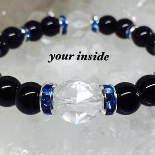 スターカット水晶 ブラックオニキス 天然石ブレスレット ブルーロンデル(ブレスレット)