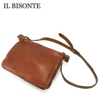 イルビゾンテ(IL BISONTE)のIL BISONTE イルビゾンテ ショルダーバッグ ブラウン ロゴ ファスナー(ショルダーバッグ)