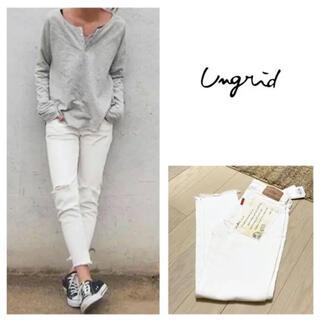 Ungrid - 新品 アングリッド ホワイトフレイドヘムストスリ 24インチ