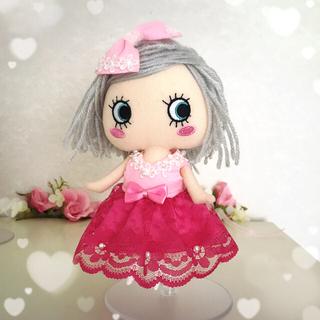 アタオ(ATAO)のイーマリー服 濃いピンクのワンピースセット(ぬいぐるみ)