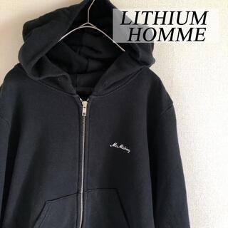 リチウムオム(LITHIUM HOMME)のLITHIUM HOMME リチウム オム ジップアップ スウェットパーカー 黒(パーカー)