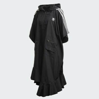 アディダス(adidas)のアディダスオリジナルス ポンチョ風ワンピース ブラック Sサイズ(ひざ丈ワンピース)