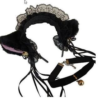 猫耳 フリルカチューシャ 鈴付き チョーカーセット コスチューム用小物 ブラック