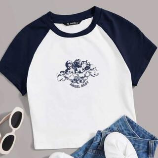 ZARA - SHEIN Tシャツ カラーブロック ネイビー