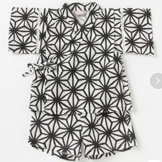 petit main - プティマイン   和柄甚平 モノトーン 黒×白 100