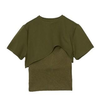 アメリヴィンテージ(Ameri VINTAGE)のMEDI KNIT BUSTIER COMBI TEE アメリ(Tシャツ(半袖/袖なし))
