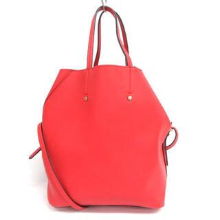ザラ(ZARA)のザラ ZARA フェイクレザー ハンドバッグ レッド 210511E 鞄(ハンドバッグ)