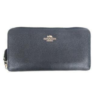 コーチ(COACH)のコーチ COACH 長財布 ウォレット ラウンドファスナー 型押し ネイビー(財布)