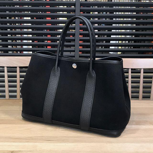 Hermes(エルメス)の美品 エルメス ガーデンパーティ TPM 30 トワルシェブロン ノワール 黒 レディースのバッグ(ハンドバッグ)の商品写真