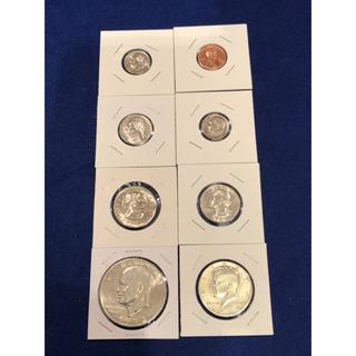 アメリカ白銅貨8枚セット アイゼンハワー1ドル ケネディハーフドルその他現行通貨(金属工芸)