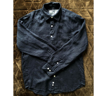 MUJI (無印良品) - 無印良品 メンズ フレンチリネン シャツ Mサイズ 麻 ネイビー