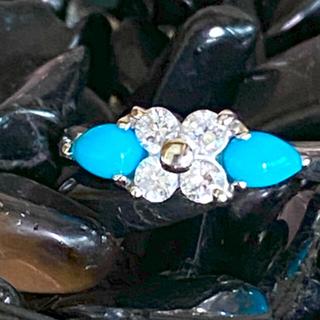 pt900  ダイヤモンド トルコ石 ターコイズリング