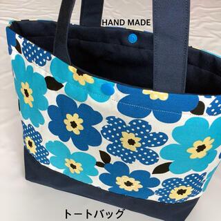 水色水玉フラワー トートバッグ ( お弁当袋入れ ランチバッグ(ランチボックス巾着)