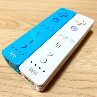 ウィー(Wii)の動作確認済み⭐️任天堂Wiiリモコン2つセット[アオ・シロ](家庭用ゲーム機本体)