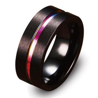 指輪 メンズ リング ステンレス レインボー センターライン シンプル 重厚 ◎
