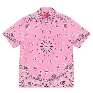 Supreme - Supreme bandana Silk S/S Shirt Pink