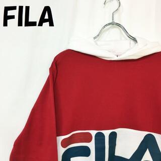 フィラ(FILA)の【人気】フィラ ビッグロゴ プルパーカー レッド×ネイビー サイズM(パーカー)