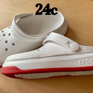 crocs - クロックス白赤ライン