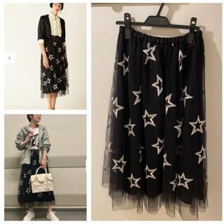 GRACE CONTINENTAL - 可愛い❣️人気⭐️スター⭐️刺繍チュールスカート 36