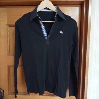 BURBERRY BLACK LABEL - BURBERRY BLACK LABEL ポロシャツ 長袖 2 ロゴ有り 日本製
