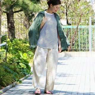 MUJI (無印良品) - ◎新品◎ 無印良品フレンチリネンワイドパンツ/ペールブラウン/L