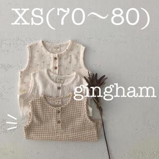 【新品:韓国子供服】(XS:gingham) ノースリーブ トップス ギンガム