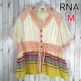 アールエヌエー(RNA)のRNA◎シースルー 半袖ブラウス(M)お洒落 可愛い シルク100%(シャツ/ブラウス(半袖/袖なし))