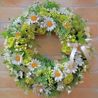 【24】フラワーリース 玄関リース 造花リース(リース)
