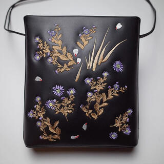 mame - mame kurogouchi 刺繍 レザーバッグ ショルダーバッグ